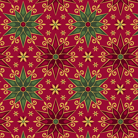 Geo Poinsettias - RED