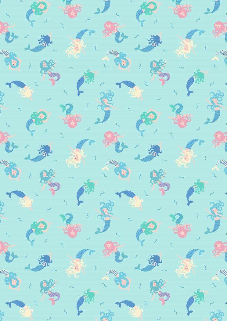 Mermaids on light blue
