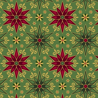 Geo Poinsettias - GREEN